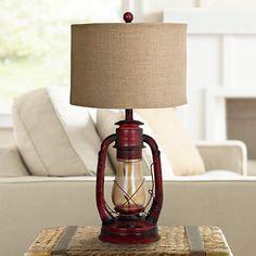 Industrial Lantern Table Lamp with Night Light - #2V218 | www.lampsplus.com