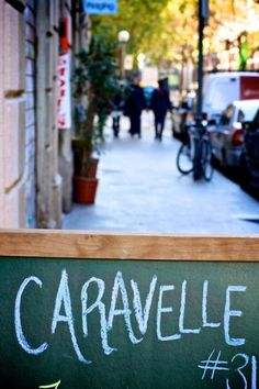 caravelle street sign Barcelona spain via Gardenista. Restaurant in Barcelona.