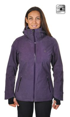 Volkl Manu Jacket has cool waxed cotton look with waterproof/breathable fabrics. Great for skiing or around town at www.shepssports.com