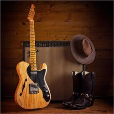 Fender Custom Shop Blackguard Thinline, hat, boots and Super Vibrolux Amp Fender Custom Shop Telecaster, Telecaster Thinline, Fender Guitars, Guitar Solo, Cool Guitar, Acoustic Guitar, Guitar Photos, Beautiful Guitars, Guitar Design