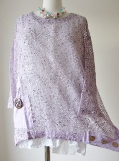 Quirky Neslay Style Lagenlook Lilac Bobble Mesh Big Button Tunic Top s M L XL | eBay