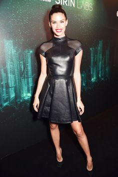 Sara Sampaio attends Sirin Labs VIP launch party #leatherminiskirt #leatherskirt