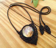 Labradorite macrame necklace, macrame stone, labradorite jewelry, micro macrame…