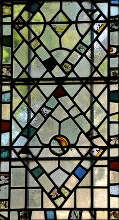 Yanworth St Michael Perpendicular west window 1899 19th century fragments -97