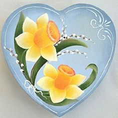 Daffodils and Pussy Willow Heart Box -- Daffodils highlight this delicate heart-shaped box.