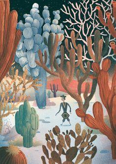 Cowboy in Cactus Landscape, Bjorn Lie