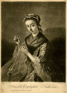 """1736-1775. """"Domestick Employment, Needle-work."""" Engraved by Richard Houston, based on a painting by Philippe Mercier."""