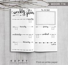 Printable Bullet Journal Weekly inserts, Midori Weekly Planner, Printable Midori Traveler's Notebook weekly planner inserts, PDF file by HappyDigitalDownload on Etsy https://www.etsy.com/listing/278587958/printable-bullet-journal-weekly-inserts