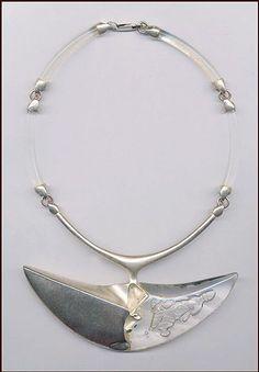 #contemporary_necklace Sterling silver and clear acrylic necklace by Björn Weckström. BjornWeckstrom.com