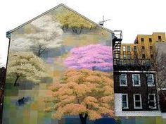 Painted pixelated building.