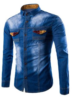 New Arrivals High Quality Long Sleeve Fashion Slim Fit Style Casual Shirt Slim Denim Shirts Men Jeans Shirts Trendy Mens Jeans, Denim Shirt Men, Denim Fashion, Look Fashion, Cheap Fashion, Casual Shirts, Casual Outfits, Latest Mens Wear, Cheap Clothes Online