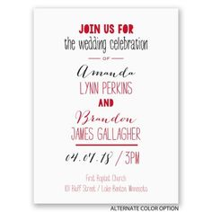 A typography layout with a mix of fonts is a perfect choice for a wedding without a specific theme. From Invitations by Dawn