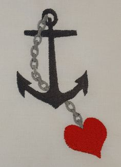 Digital Embroidery Design Anchor and a by EmbroideryDesignsBRN Anchor, Embroidery Designs, Nautical, Nursery, Stitch, Sewing, Digital, Color, Navy Marine