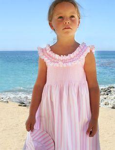 Pink Stripe Dress with Smocked Collar by Isabel Garreton Little Girl Dresses, Girls Dresses, Summer Dresses, Baby Dresses, Little Boy Fashion, Kids Fashion, Smocking, Punto Smok, Hand Embroidery Dress