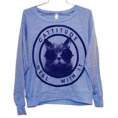 Cattitude Raglan Pullover -- Blue (Select Size)