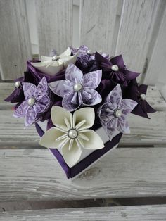 Origami Paper Flower Centerpiece  Kusudama Purple by PoshStudios, $45.00