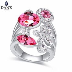 DAN'S Element White Gold Color Real Austrian Crystals Romantic Flower Fashion Ring for women Valentine Gift 118322Rose