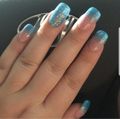 Frozen inspired square nails