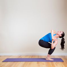 Why it works: Squats work your lower body like no other move, and when you twist to the side, it makes it even more challenging, which makes your thighs and glutes work harder. Actively pressing your bottom elbow against the outside of your knee also works your upper body. Get more out of it: Make this pose harder by placing your bottom hand on the floor and raising your upper arm into the air. Holy thighs burning! Source: Louisa Larson Photography