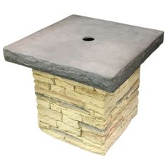 Eye Level, LLC - Table Patio Umbrella Stand in Stacked Stone Beige, $249.99 (http://www.eyelevelliving.com/table-patio-umbrella-stand-in-stacked-stone-beige/)