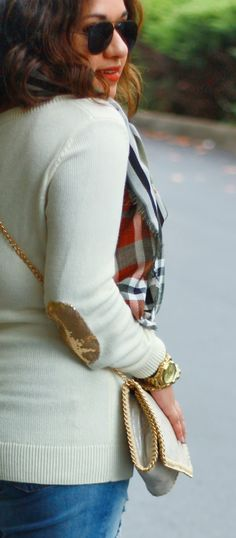 Gold Sequin Elbow Patch Sweater