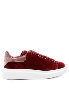 Raised-sole low-top velvet and leather trainers | Alexander McQueen | MATCHESFASHION.COM