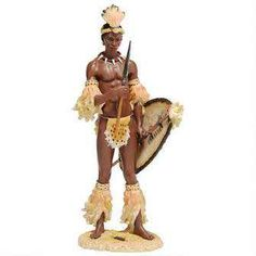 isciplined in combat and training, Zulu chieftain Shaka is perhaps the most famous of all heroic African tribesmen. Our artist has sculpted this historic, collectible work of art with the innovative s
