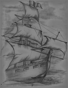 Pirate Ship Sketch by Vickie Roche Tattoo concept- mermaid bust Pirate Ship Drawing, Boat Drawing, Girl Drawing Sketches, Art Drawings Sketches Simple, Pencil Art Drawings, Cool Drawings, Tattoo Sketches, Amazing Drawings, Sketch Art