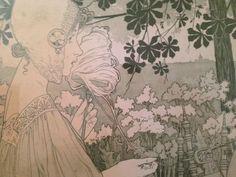 Henri Privat Livemont - twee litho's 'La Brodeuse' & 'La Fileuse'