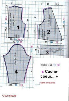 Pattern / tutorial: wrap-around . - C& Mesure Corset Sewing Pattern, Dress Sewing Patterns, Clothing Patterns, Coin Couture, Couture Sewing, Diy Tops, Couture Tops, Sewing Projects For Beginners, Couture Collection