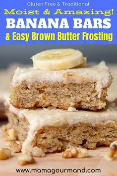 May 2019 - Best homemade Banana Bars recipe is a cross between banana bread and banana cake with a gooey brown butter frosting slathered on moist, easy-to-make bars. Banana Dessert Recipes, Fun Desserts, Strawberry Desserts, Baking Desserts, Cake Baking, Banana Bread Bars, Brown Butter Frosting, Caramel, Gluten Free Banana