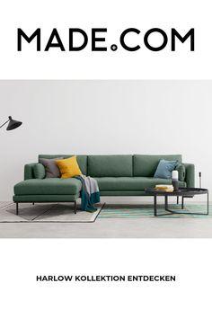 Zweckmässigkeit und Style in einem? Klar geht das. Mit Harlow. Das beqüme Sofa vereint modernes Design und Funktionalität. Beine aus Stahl und strapazierfähiger Textilbezug lassen die Herzen der Scandi-Fans höher schlagen. Weiche Polster und beqüme Rückenkissen laden zum Entspannen ein. Dazu setzen die Nahtdetails an den Sitzkissen optische Akzente. Green Corner Sofas, Corner Sofa Living Room, Comfortable Living Rooms, Comfortable Sofa, Chaise Sofa, Sectional Sofa, Sofa Furniture, Living Room Furniture, Teen Room Decor