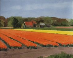 Gineke Zikken, Oranje Tulpen, Olieverf op doek, 40x50 cm, €.1050,-