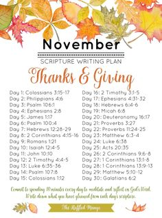 """November Scripture Writing Plan: Thanks & Giving - The Ruffled Mango We have yet another excellent list of scriptures that will help guide your study this month and get you into the """"thanking"""" and """"giving"""" spirit!"""