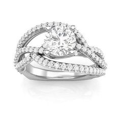 2-17Ct-White-CZ-Curve-Solitaire-Bridle-Set-925-Sterling-Silver-Ring-Size-4-14