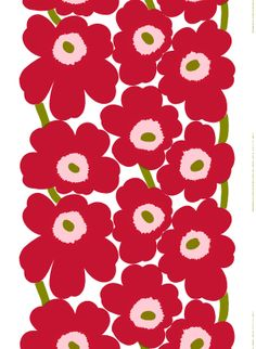 Marimekko Unikko Red Canvas Fabric The Marimekko Unikko flower fabric has red and pink flowers with orange centers and black stems. This popular Marimekko design was created by Maija Isola in This fabric can be used for upholster. Marimekko Fabric, Marimekko Wallpaper, Motif Art Deco, Stoff Design, Motif Floral, Art Floral, Pretty Patterns, Textile Patterns, Floral Patterns