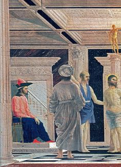 'The Flagellation of Christ (detail)', Tempera by Piero Della Francesca (1415-1492, Italy)