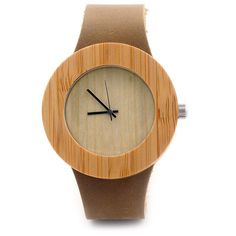 """Elegant Minimalistic"" Bamboo Wood Quartz Watch - Leather Strap (42mm)"