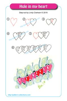 Hole in my heart by Lindy Clarkson Doodle Art Designs, Doodle Patterns, Zentangle Patterns, Line Patterns, Tangle Doodle, Tangle Art, Zen Doodle, Zentangle Drawings, Doodles Zentangles