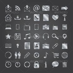 Set of Media Icons #GraphicRiver set of 50 metal media icons. vector eps10 Created: 19April13 GraphicsFilesIncluded: JPGImage #VectorEPS Layered: No MinimumAdobeCSVersion: CS Tags: address #app #application #book #communication #computer #connection #email #group #icon #interface #internet #letter #media #message #mobile #mobilephone #navigation #notebook #radio #set #sign #smartphone #social #symbol #technology #telephone #television #vector #web