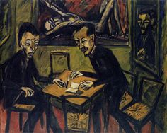 Two Men at a Table (1912) Erich Heckel