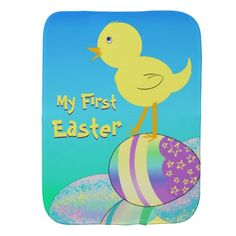 """This adorable digital design features a yellow and orange chick with blue eyes atop a bunch of multicolored Easter eggs of blue, teal, aqua, turquoise, purple, pink, green and yellow.  Background is a gradient resembling blue sky with green grass.  Yellow text is customizable and reads, """"My First Easter""""."""