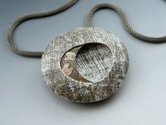 Etched polymer clay with vintage brass pendant necklace by Stonehouse Studio