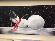 This whimsical Snowman is painted With acrylics on a 12x24 canvas but I could create one in any colors and on any size Canvas