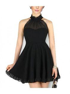 Cutaway Neck Mesh Dress - Black