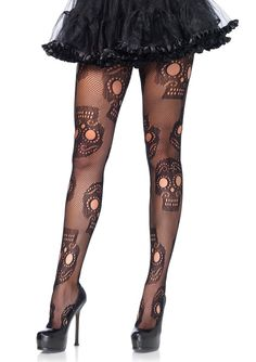 Leg Avenue Plus Size Sugar Skull Black Net Pantyhose. Plus size sugar skull net pantyhose with reinforced toe and elastic waistband. Available only in black and fits sizes. Black Fishnet Tights, Black Fishnets, Fishnet Stockings, Lace Tights, Leggings, Black Sugar, Sugar Skull Design, Leg Avenue, Ladies Day