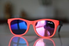 Classic Tortoise Sunglasses Neon Orange/ Rubber/ Black/ Iridescent Lenses