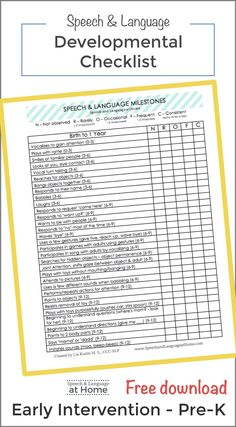 Free Printable Developmental Milestones Checklists for Early Speech and Language Skills. Perfect for measuring small steps in early intervention.