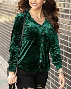 (**sale**) Tinsel Velvet Button Up - Grace and Lace