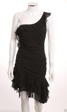 EXPRESS ONE SHOULDER  RUCHED WAIST LAYERS RUFFLES  HEM FITTED BLACK DRESS SZ 8 #lbd $9.99